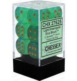 Chessex BOREALIS 12D6 LIGHT GREEN/GOLD 16MM
