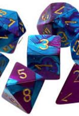 Chessex DICE GEMINI 7-DIE SET PURPLE-TEAL/GOLD