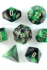 Chessex DICE GEMINI 7-DIE SET BLACK-GREEN/GOLD