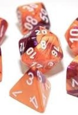 Chessex DICE GEMINI 7-DIE SET ORANGE PURPLE/WHITE