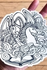 Crystal Salamon Colouring Sticker- Dragon&Unicorn