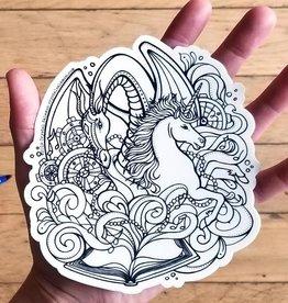 Crystal Salamon Colouring Sticker- Dragon&Unicorn
