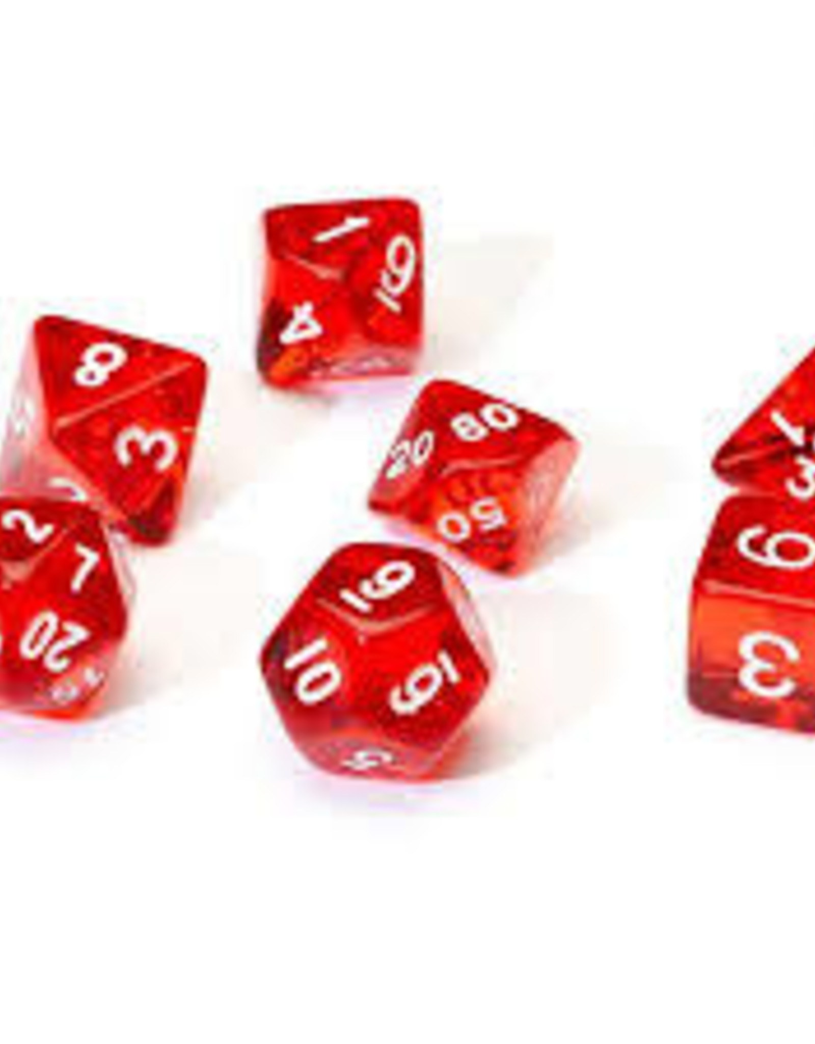 Chessex Dice - 7pc Red & White
