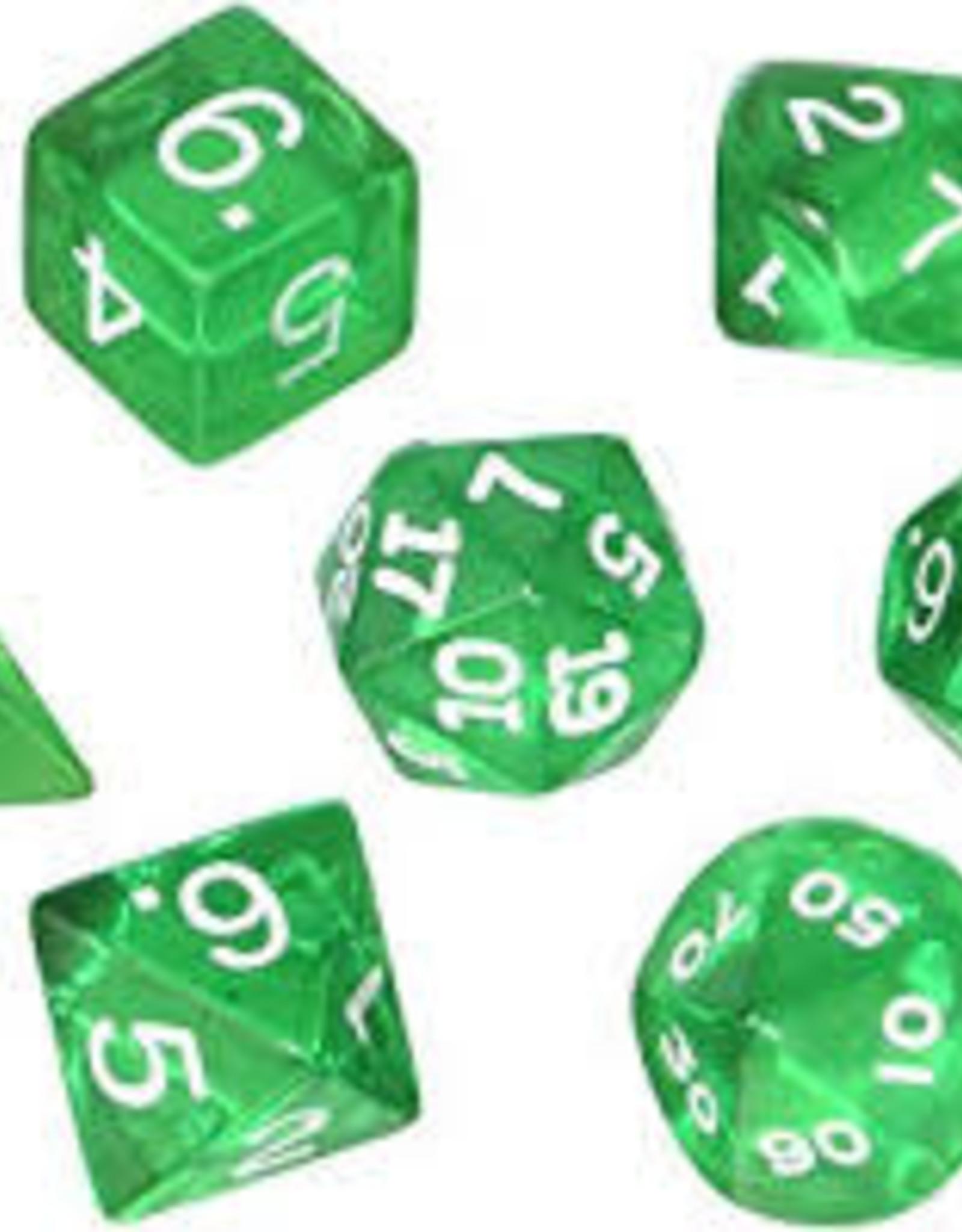 Chessex Dice - Mini 7pc Green & White