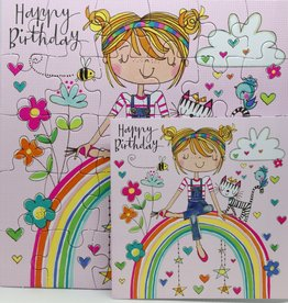 Rachel Ellen Designs Card Jigsaw HB, Girl on Rainbow - 7x7