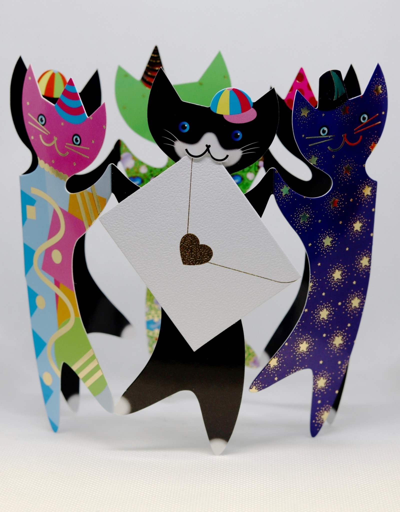 Stand Up Bday Card Party Cats - 6x6