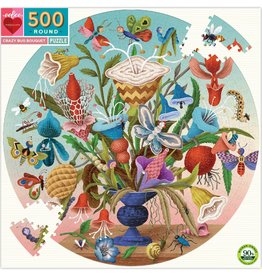 eeBoo CRAZY BUG BOUQUET 500PC ROUND PUZZLE