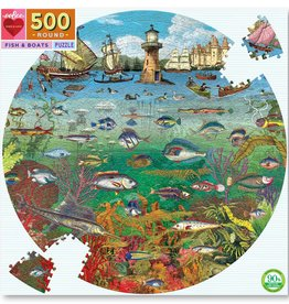 Eeboo FISH AND BOAT 500, ROUND PUZZLE