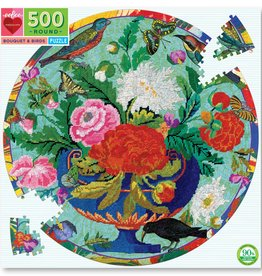 eeBoo BOUQUET AND BIRDS 500PC ROUND PUZZLE