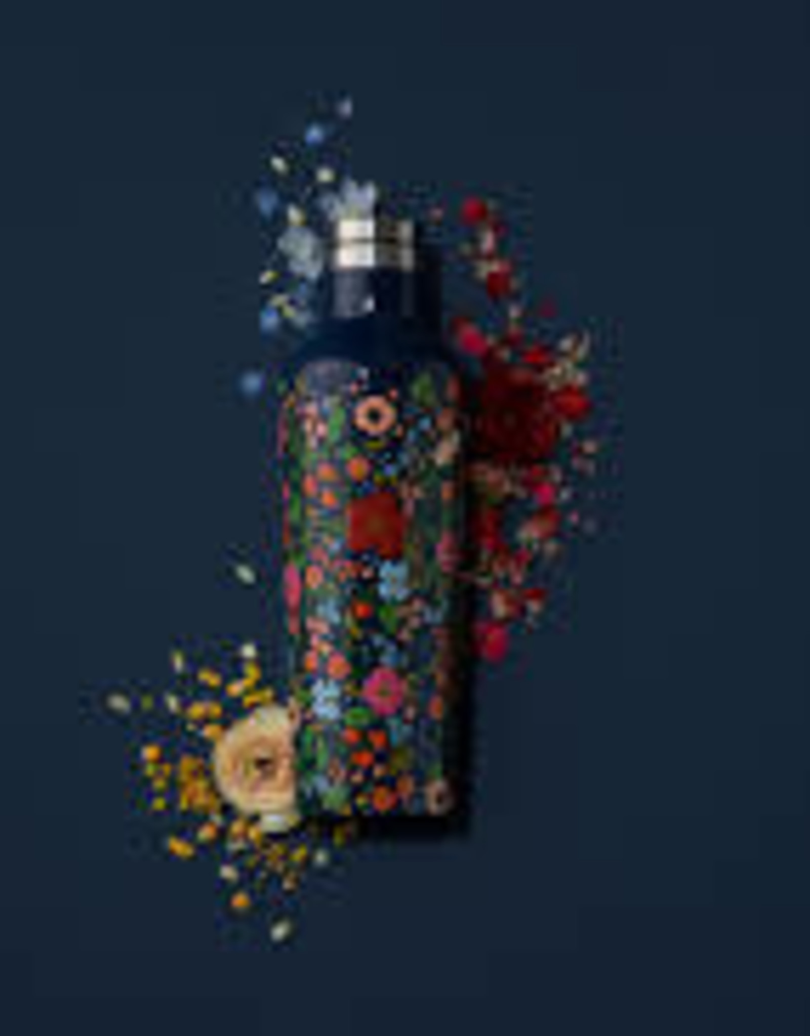 Corkcicle Canteen-16oz Rifle Paper-Gloss Navy Wild Rose
