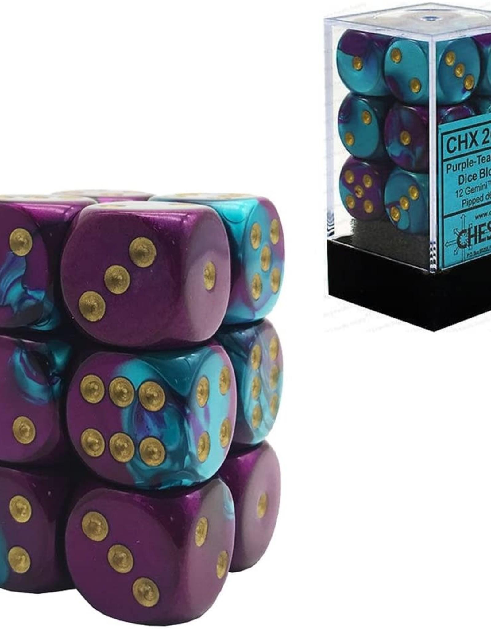 Chessex DICE GEMINI 12D6 PURPLE-TEAL/GOLD 16MM