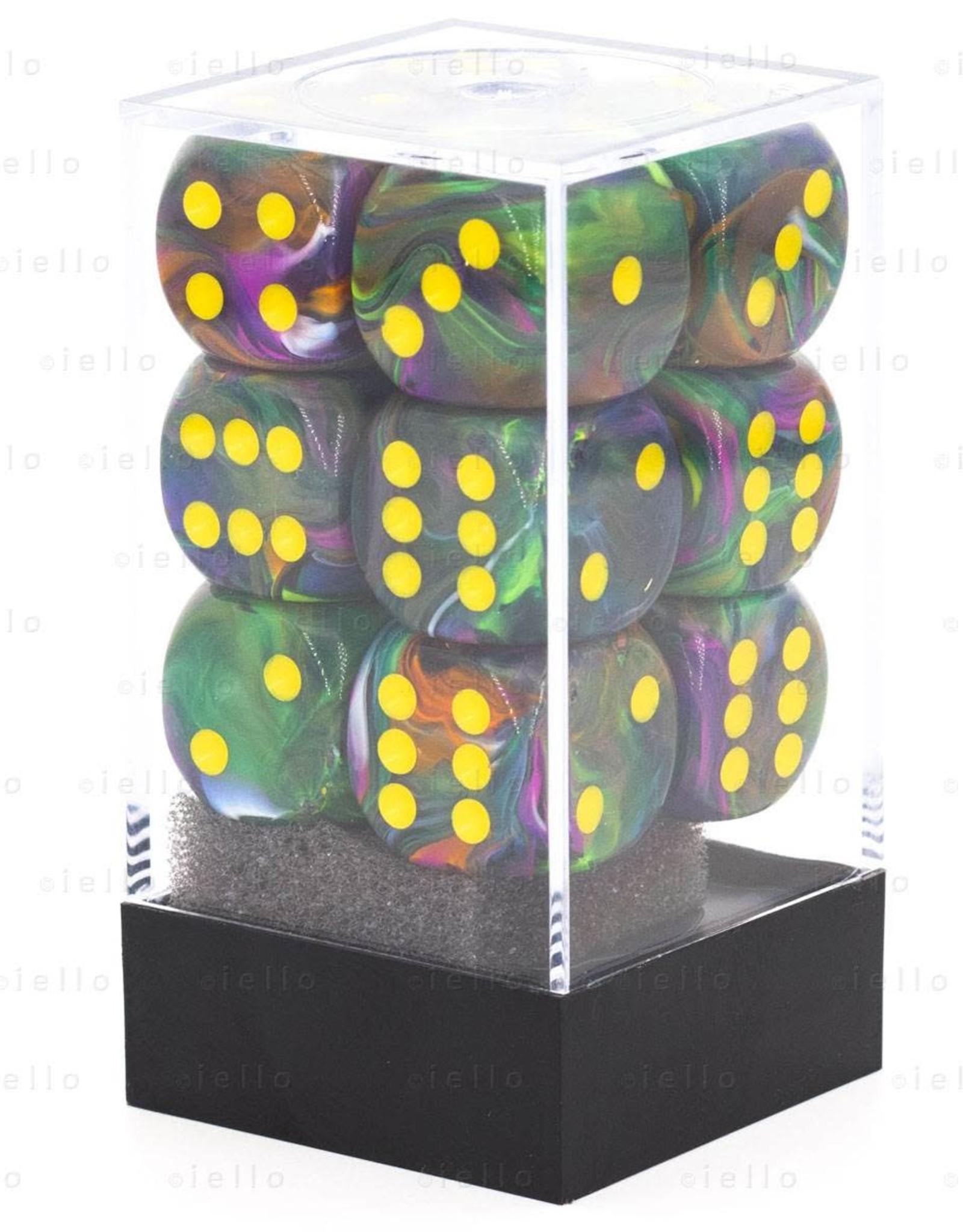 Chessex DICE FESTIVE 12D6 RIO W/YELLOW 16MM