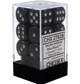 Chessex BOREALIS 12D6 SMOKE/SILVER 16MM