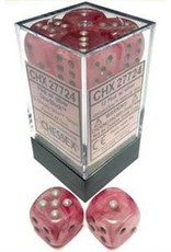 Chessex Ghostly Glow 12D6 Pink / Silver (Glow in the dark)