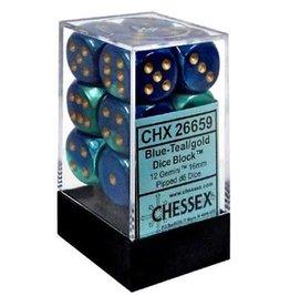 Chessex Gemini: 12D6 Blue-Teal / Gold