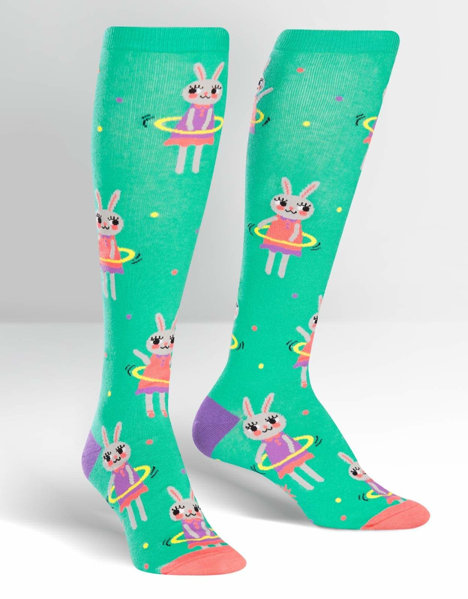 Sock It To Me Knee High: Hula Hoopin' Bunnies
