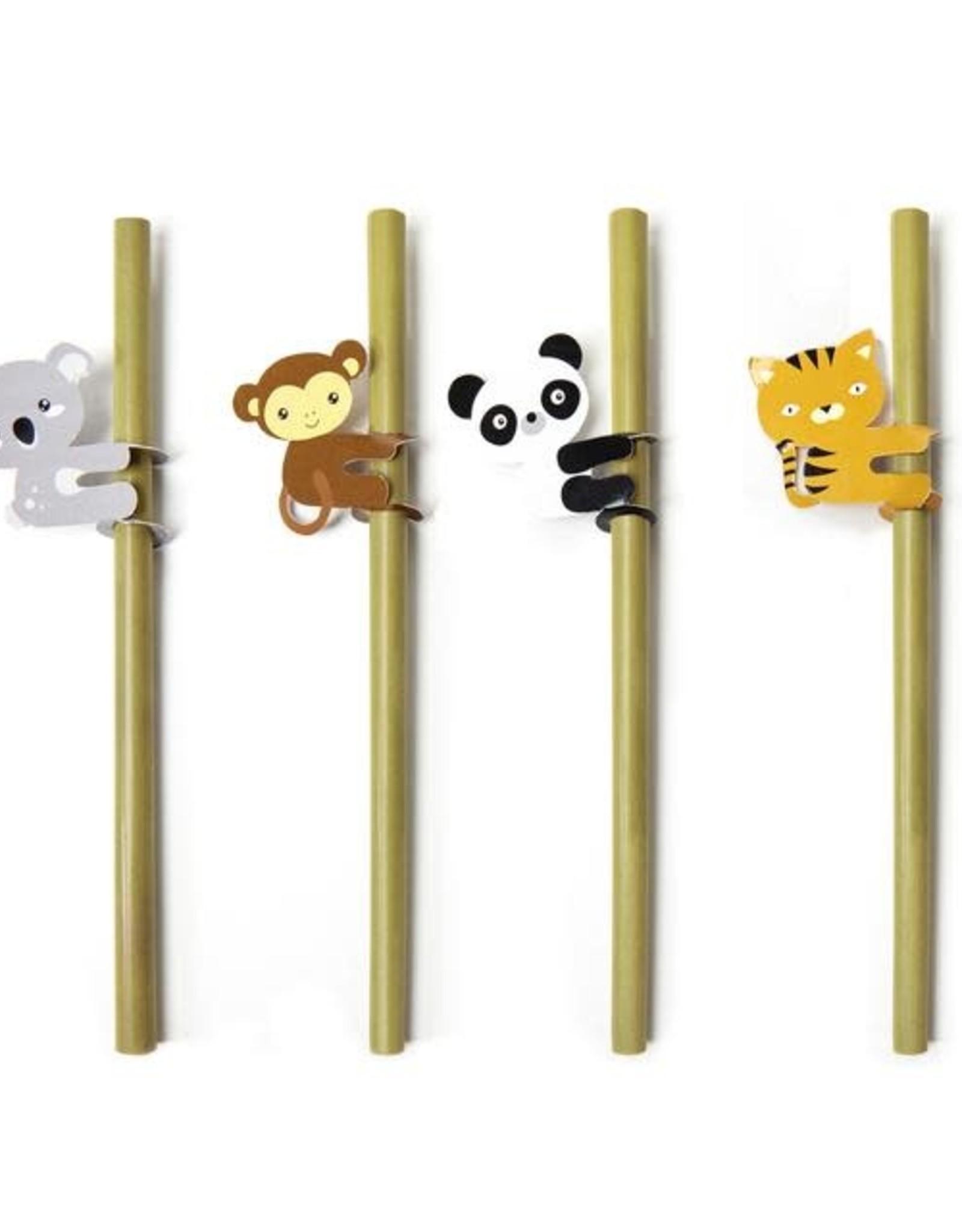 Kikkerland Animal Bamboo Straws