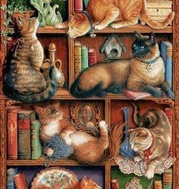 Cobble Hill Feline Bookcase 2000pc
