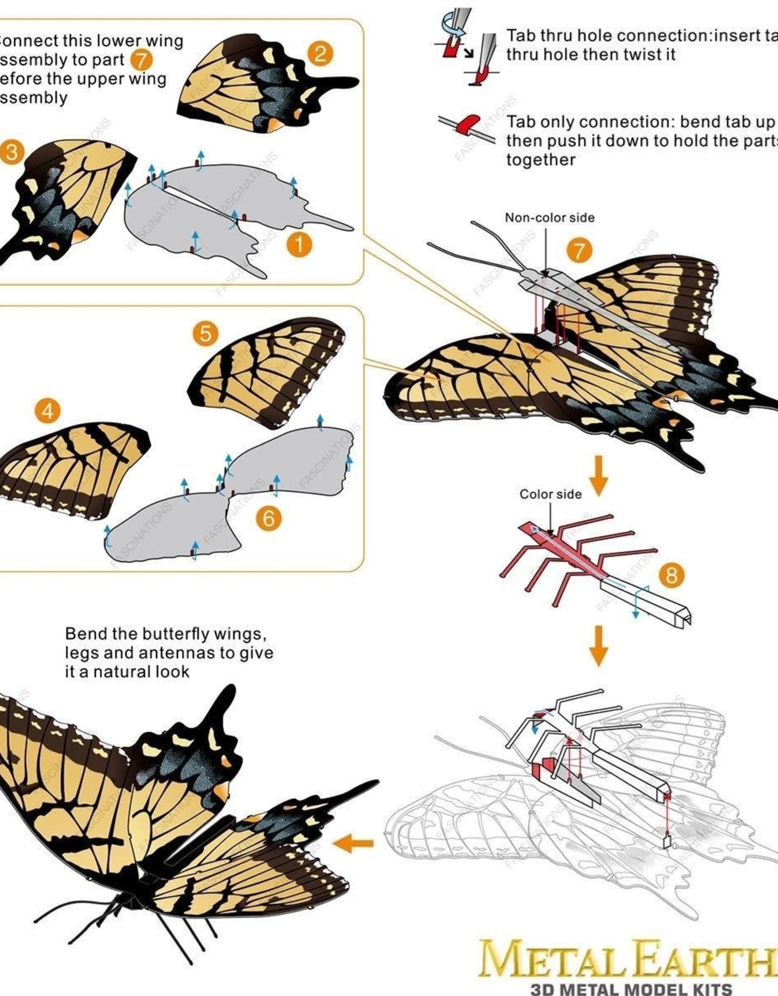 MetalEarth M.E., Pipevine Swallowtail Butterfly, 1 sheet