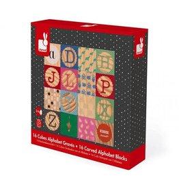 Janod Kubix 16 Wood Alphabet Blocks
