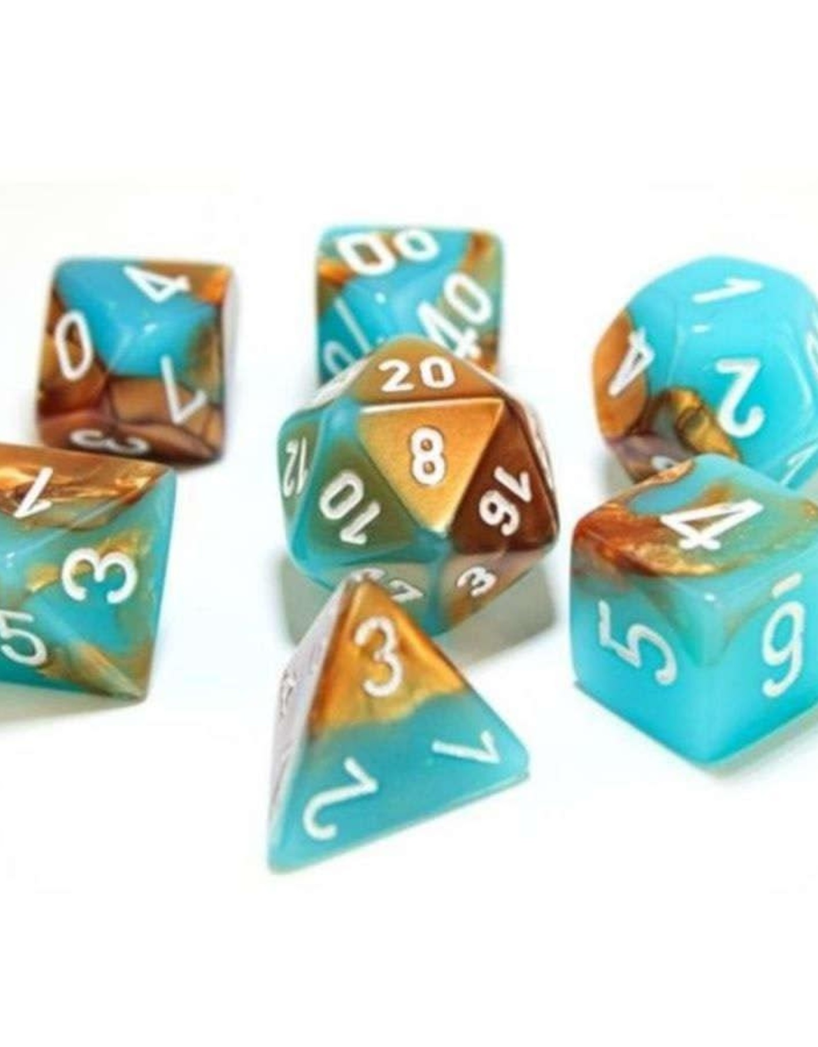 Chessex DICE GEMINI 7-DIE SET COPPER TURQUOISE/WHITE