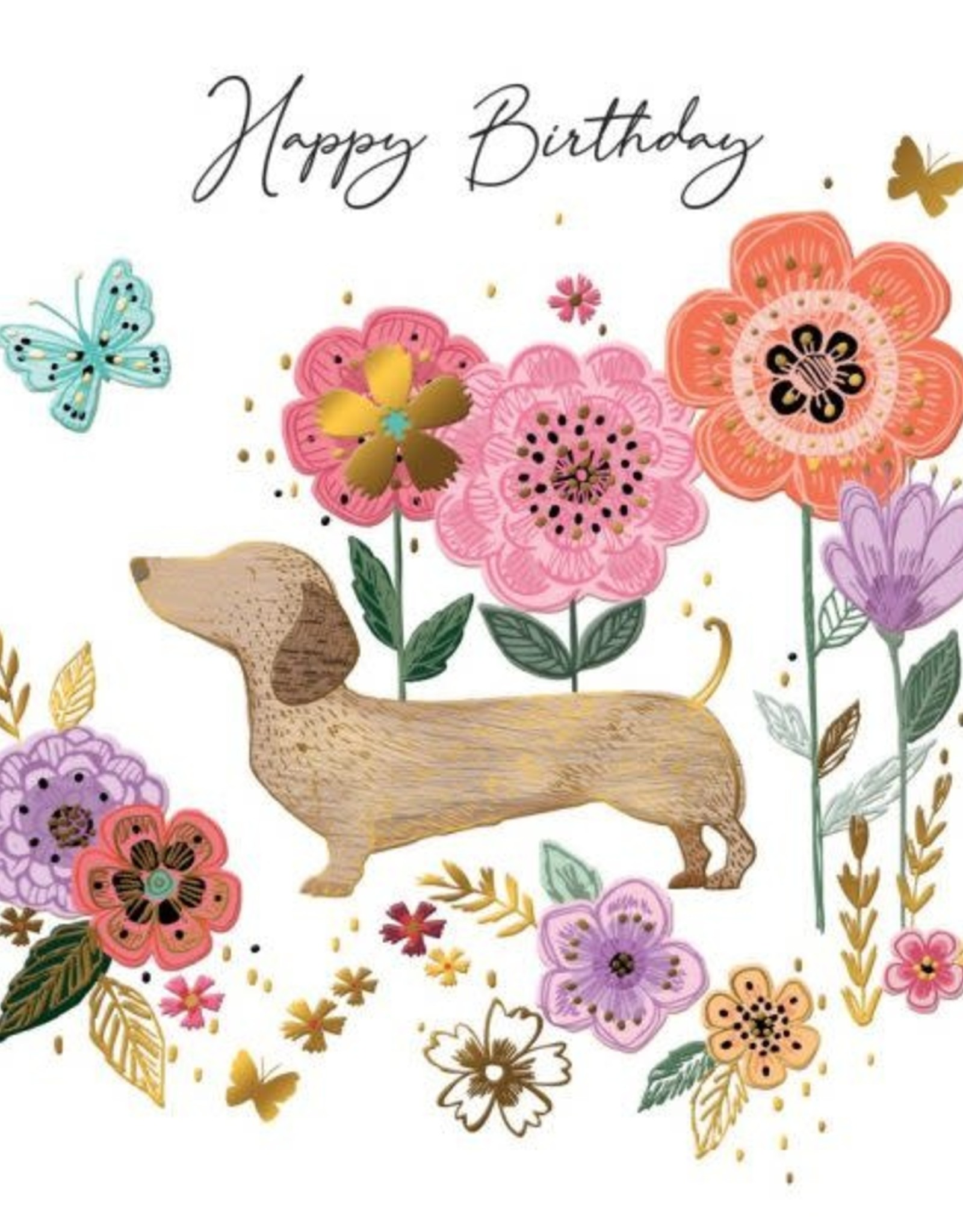 "Incognito Cards SUBLIME-Happy Birthday-Dog and Flowers(6""X6"")"