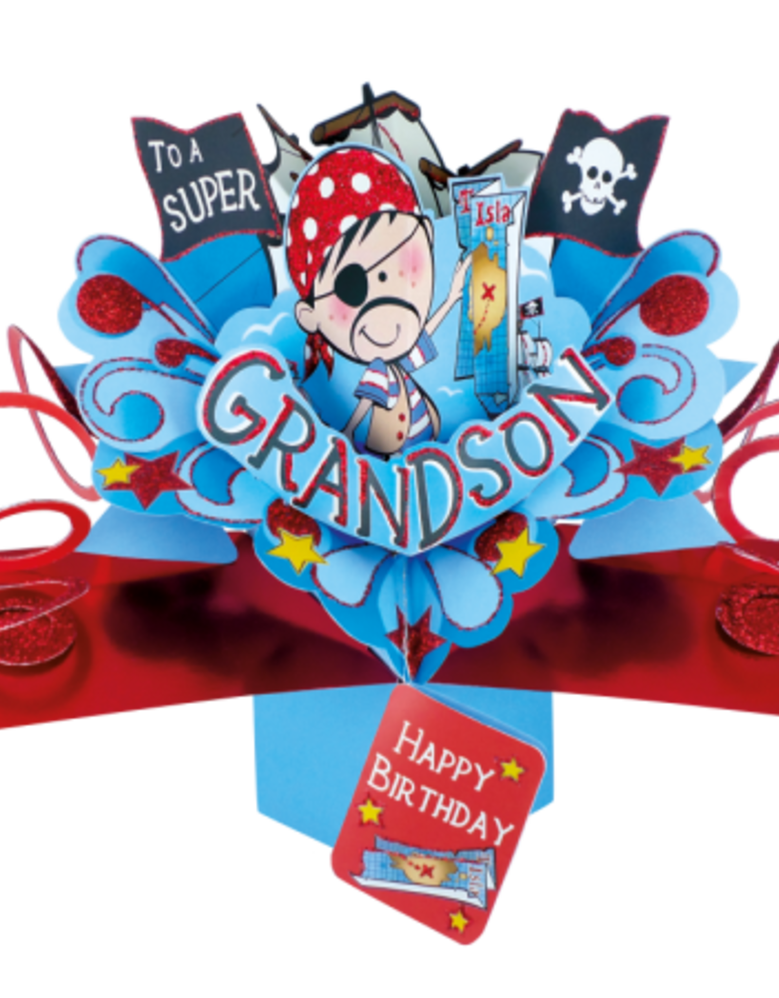 "Incognito Cards Pop Up-Grandson Happy Birthday -Little Boy(8.5""X10"")"