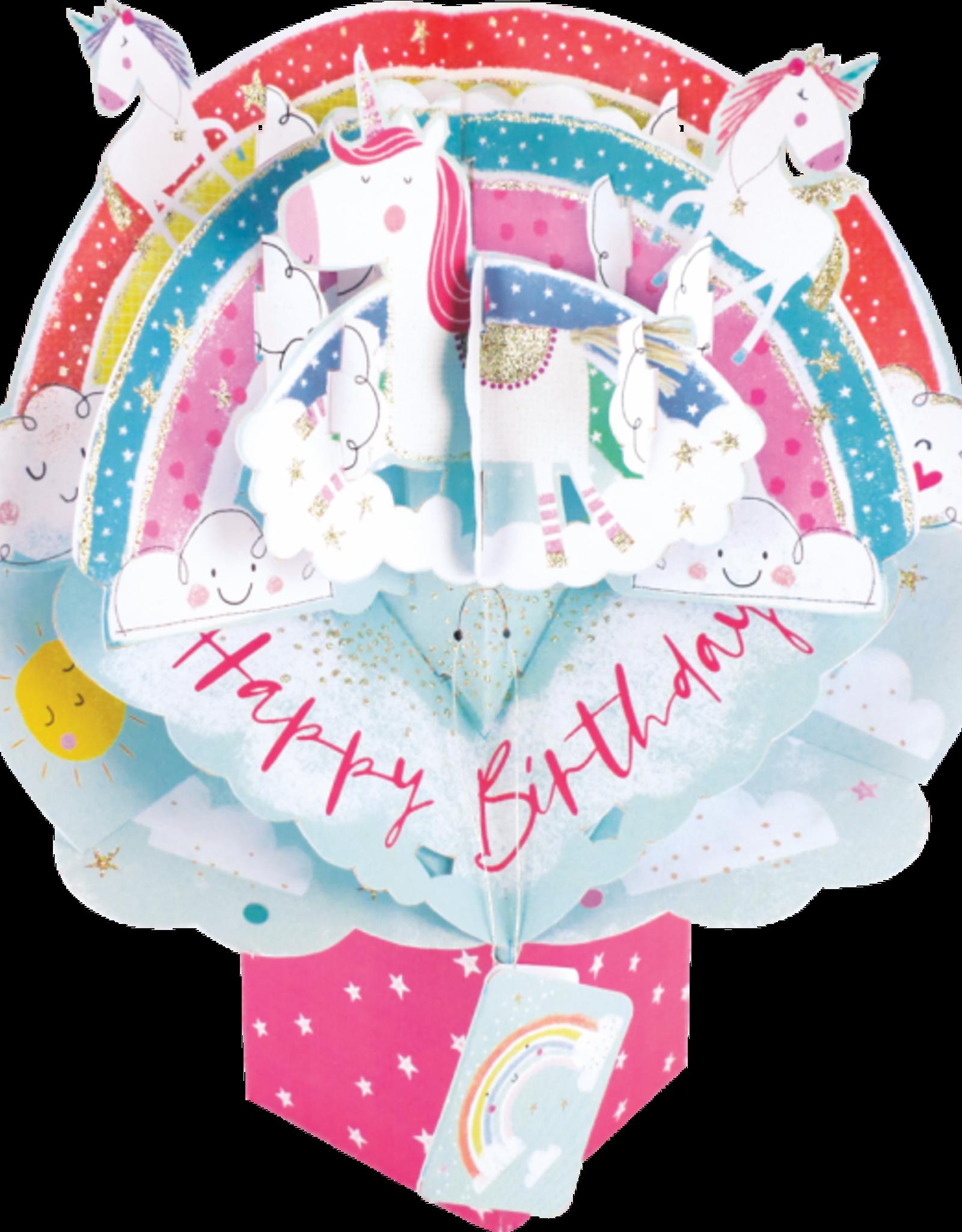 "Incognito Cards Pop Up-Happy Birthday-Unicorns and Rainbows (8.5""X10"")"