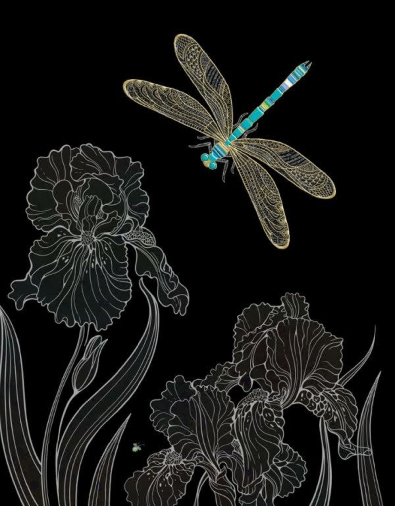 "Incognito Cards JEWELS-Dragonfly And Flowers-Blank(5""X7"")"