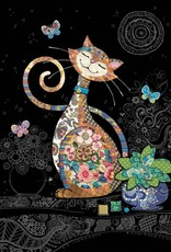 "Incognito Cards JEWELS-Happy Multi Colored Cat-Blank(5""X7"")"
