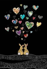 """Incognito Cards JEWELS-Two Rabbits In Love-Hearts-Blank(5""""X7"""")"""
