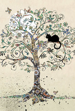 """Incognito Cards BLACK INK-Cat In A Tree-Blank(5""""X7"""")"""