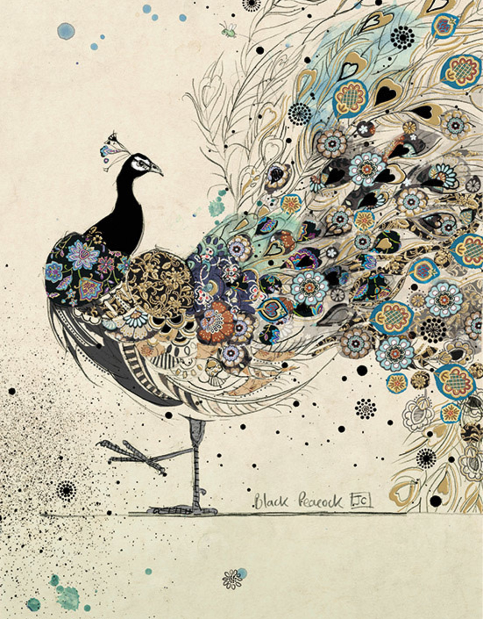 """Incognito Cards BLACK INK-Peacock-Blank(5""""X7"""")"""