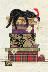 """Incognito Cards CHRISTMAS-Cat On Presents-Blank(6.5""""X4.6"""")"""