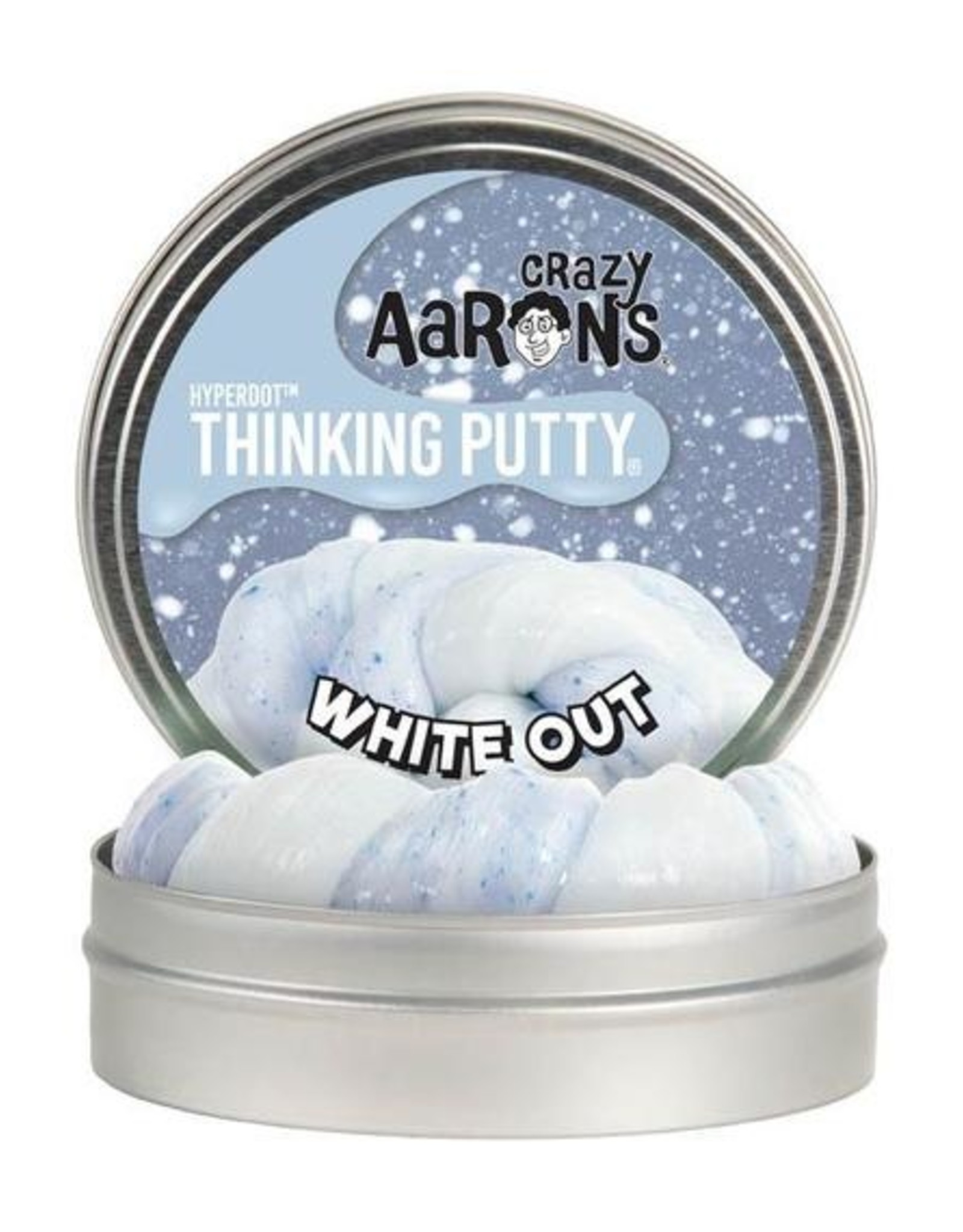 """Crazy Aaron's Thinking Putty Crazy Aaron's Hyperdot Putty 4"""" Tin White Out"""