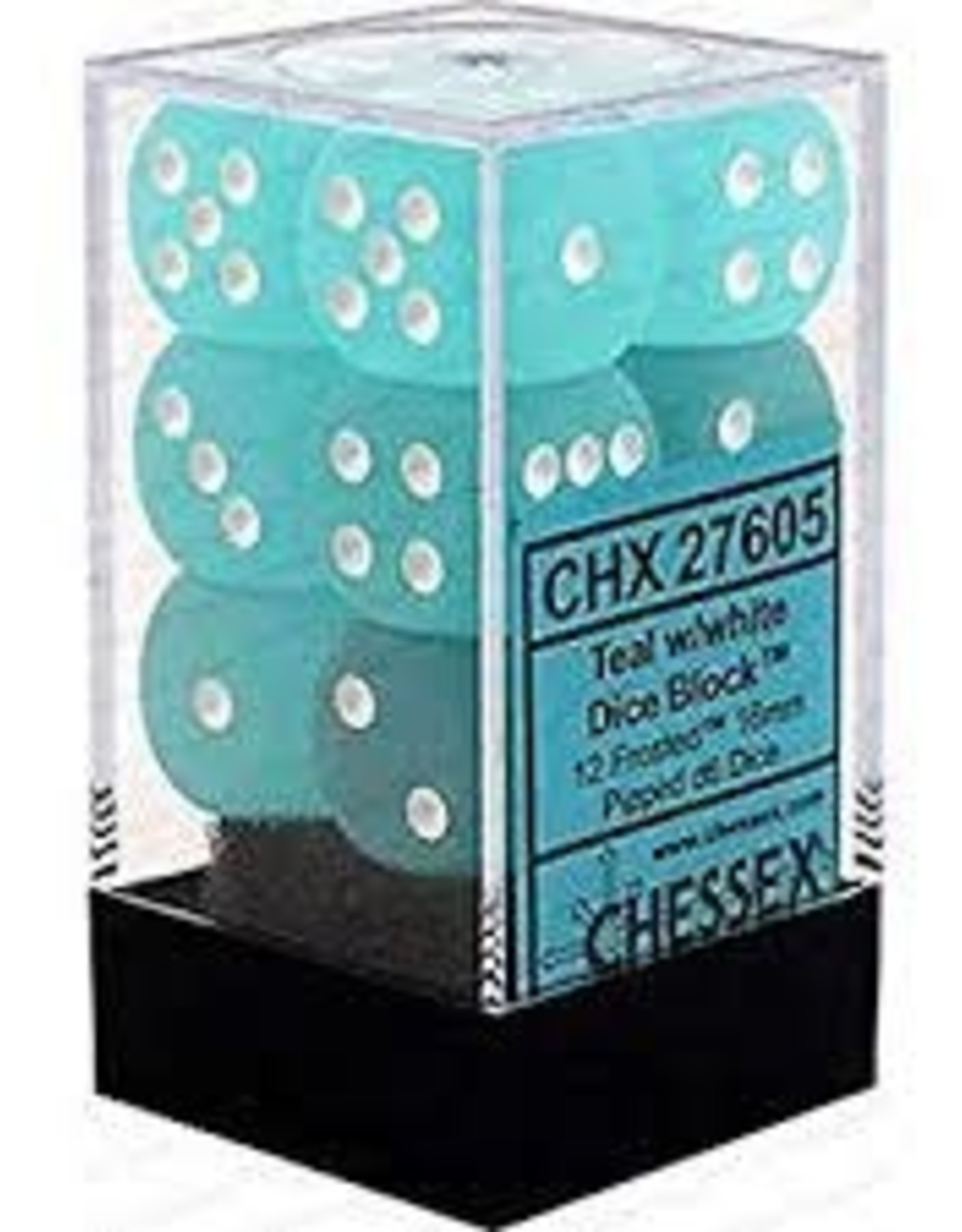 Chessex Dice-12D6 Frosted Teal & White