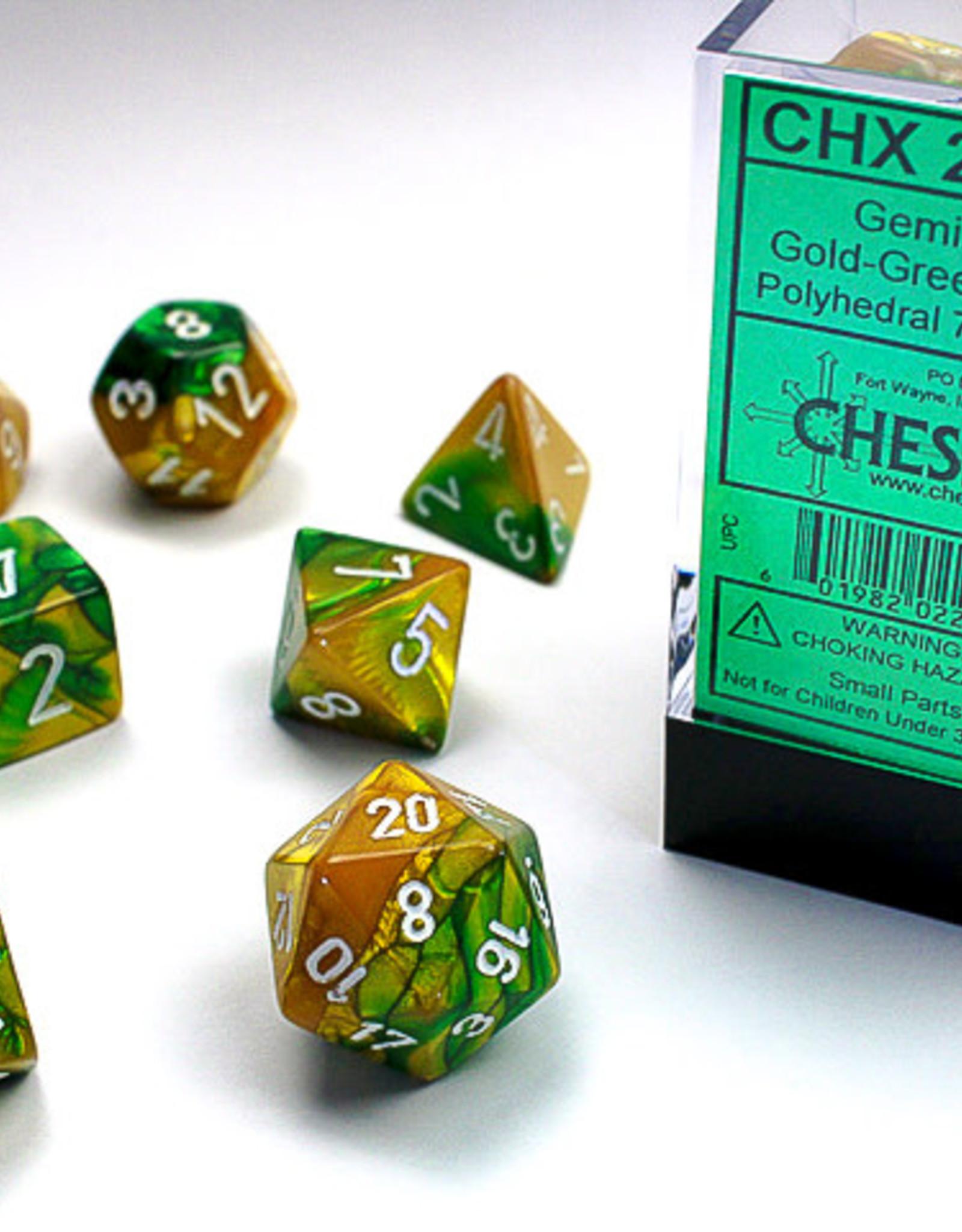 Chessex DICE GEMINI 7-DIE SET GOLD-GREEN/WHITE