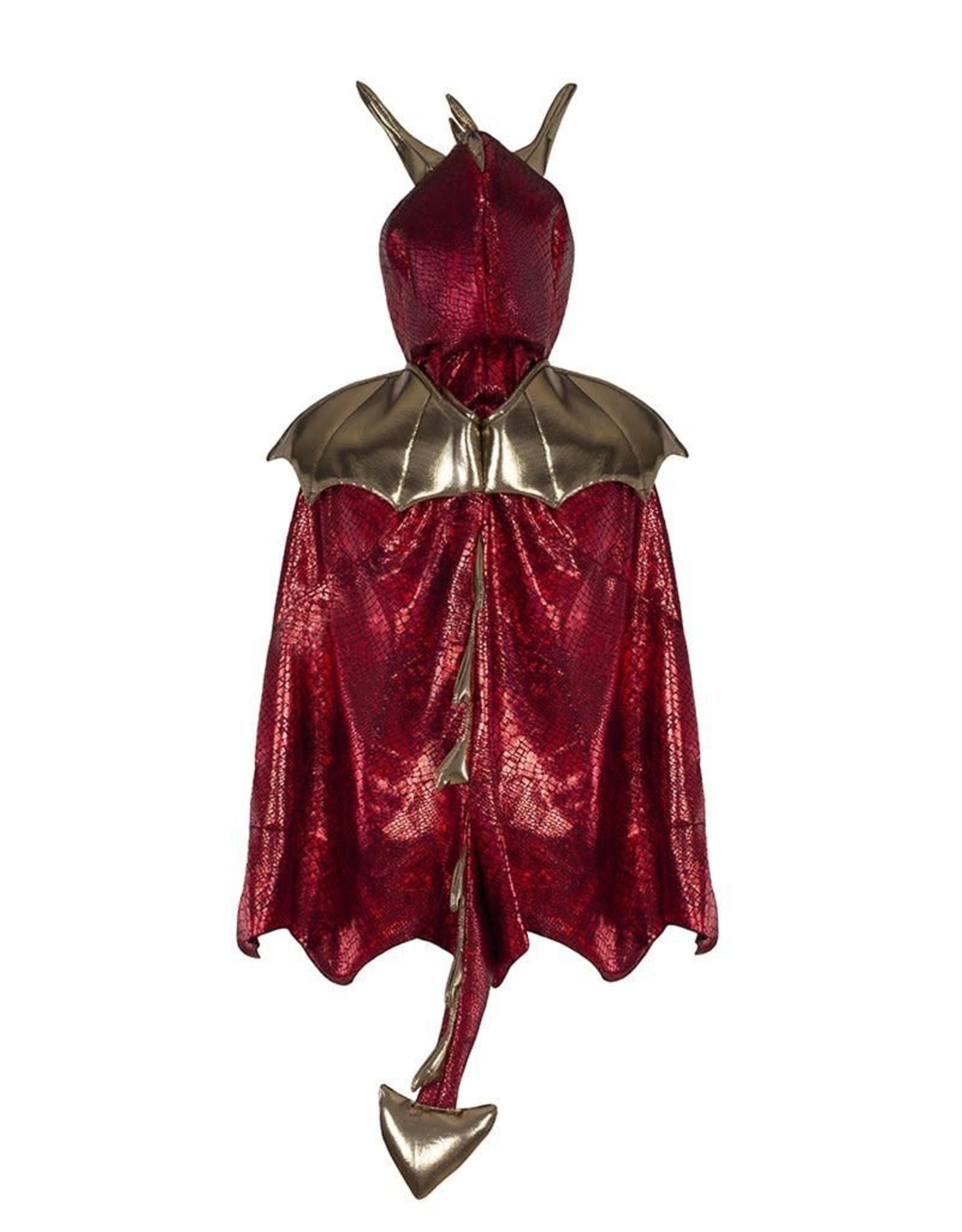 Great Pretenders Dragon Cape, Red/Gold, Size 5-6
