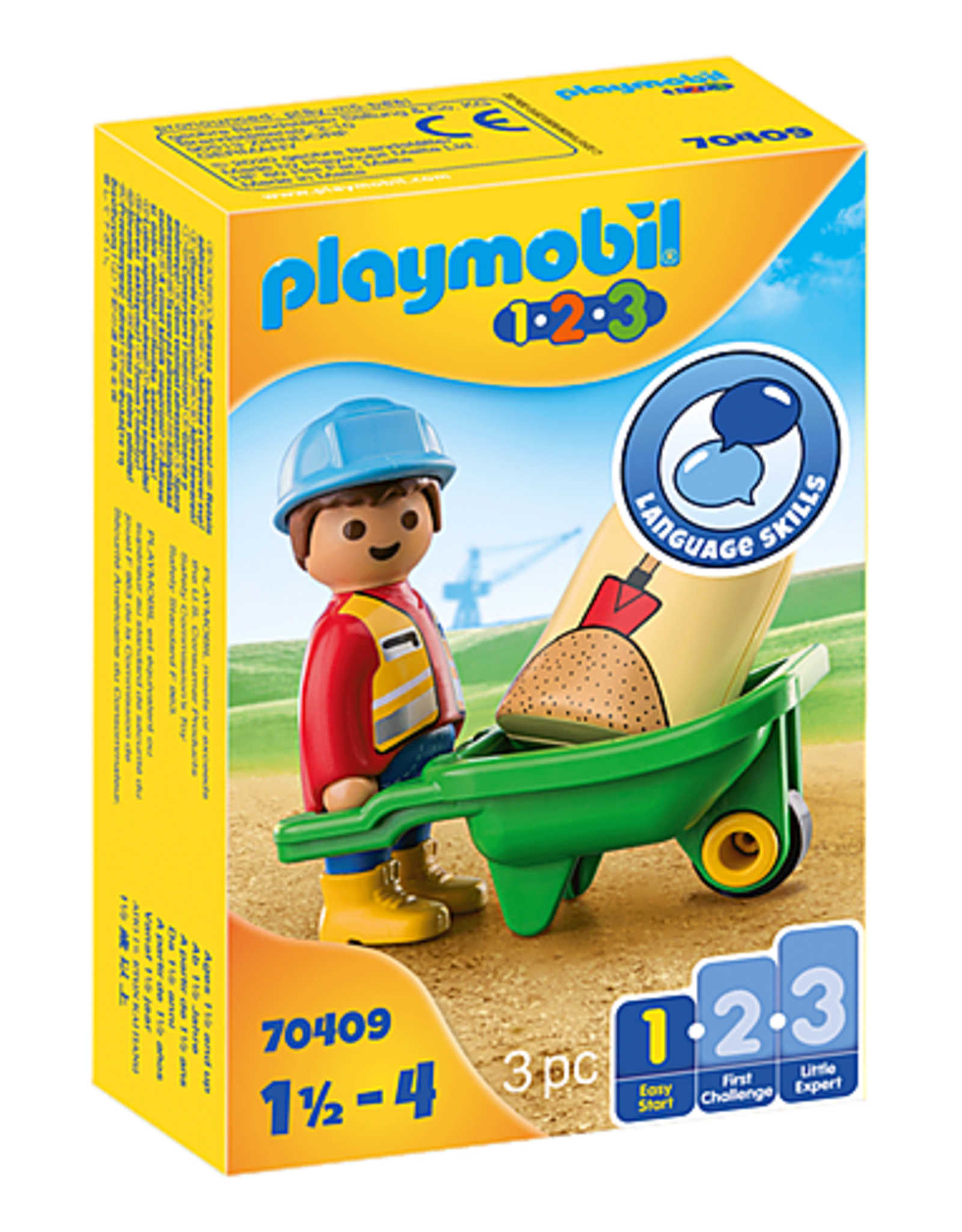 Playmobil 1.2.3. Construction Worker with Wheelbarrow