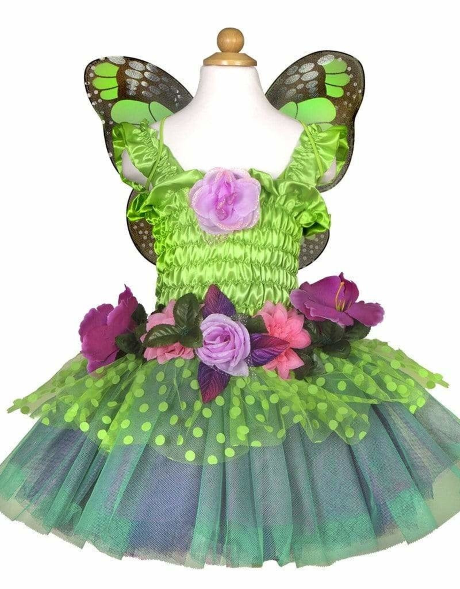Great Pretenders Fairy Blooms Deluxe Dress & Wings, Green, Size 3-4