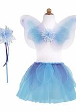 Great Pretenders Fancy Flutter Skirt With Wings & Wand, Blue, Size 4-6