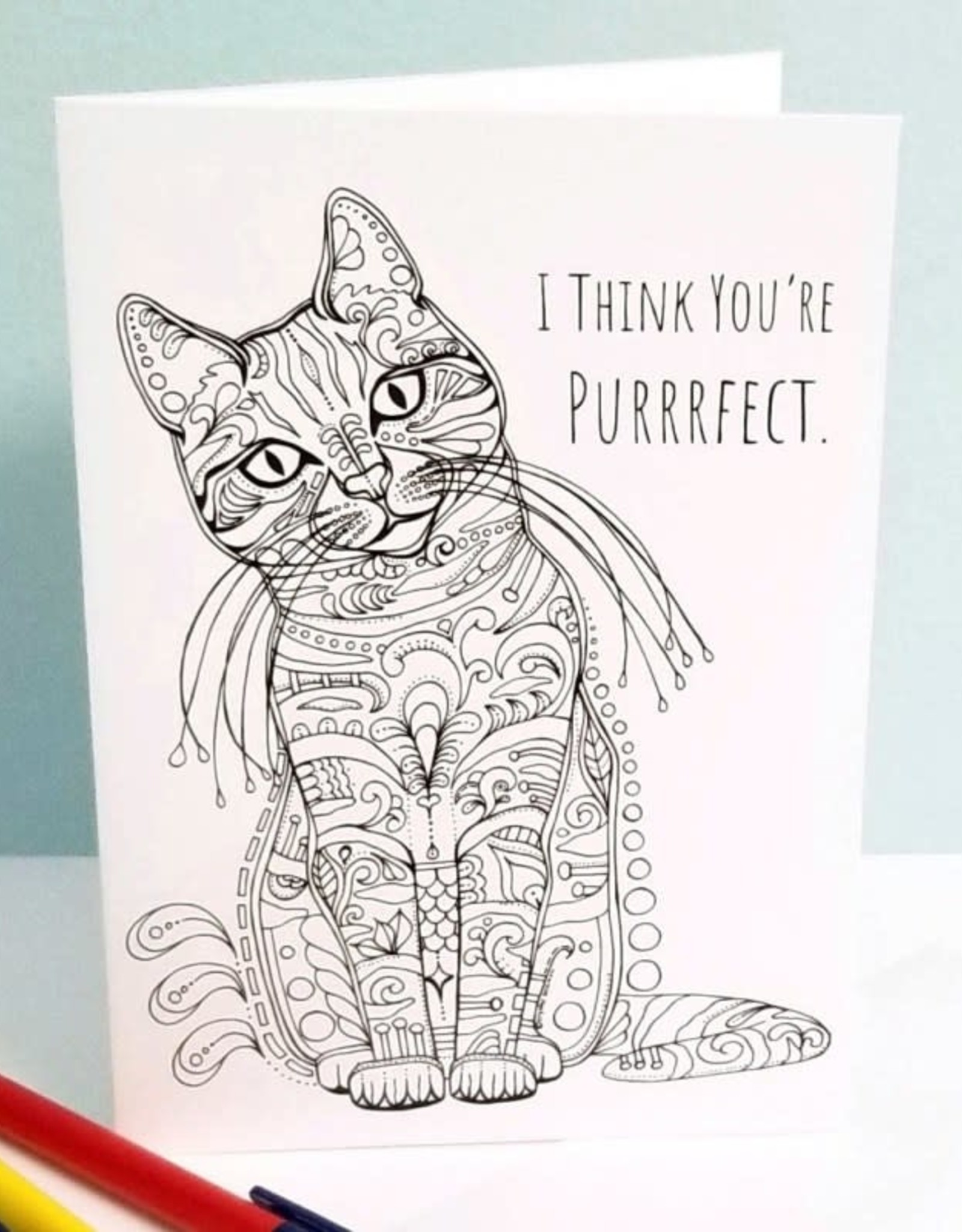 Crystal Salamon CAT Colouring Card