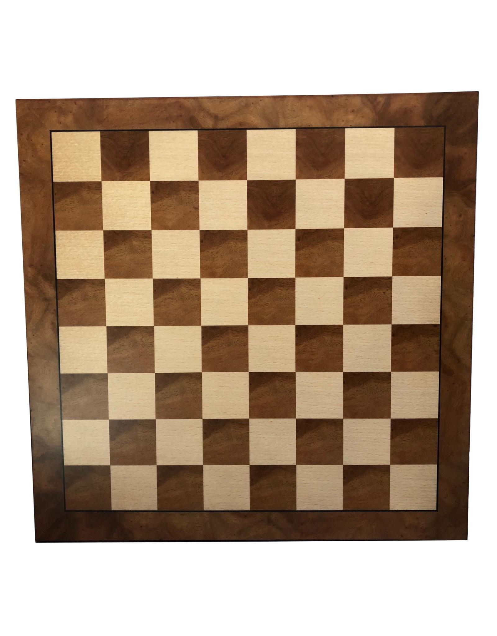 "Wood Expressions CHESSBOARD, 18'' CAMPHOR BURL 2"" SQUARES"