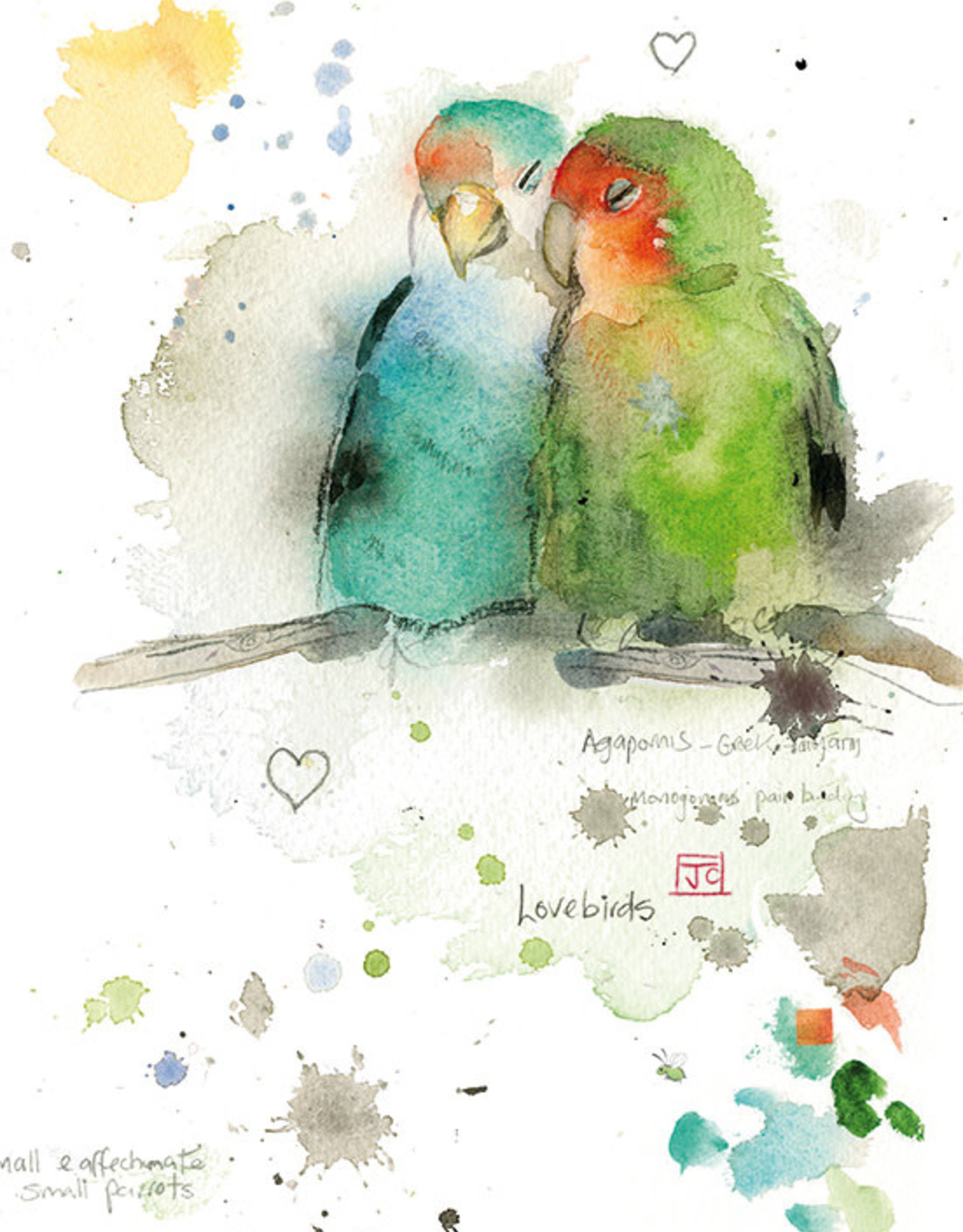 """Incognito CRITTERS - LOVEBIRDS - BLANK (5"""" X 7"""")"""