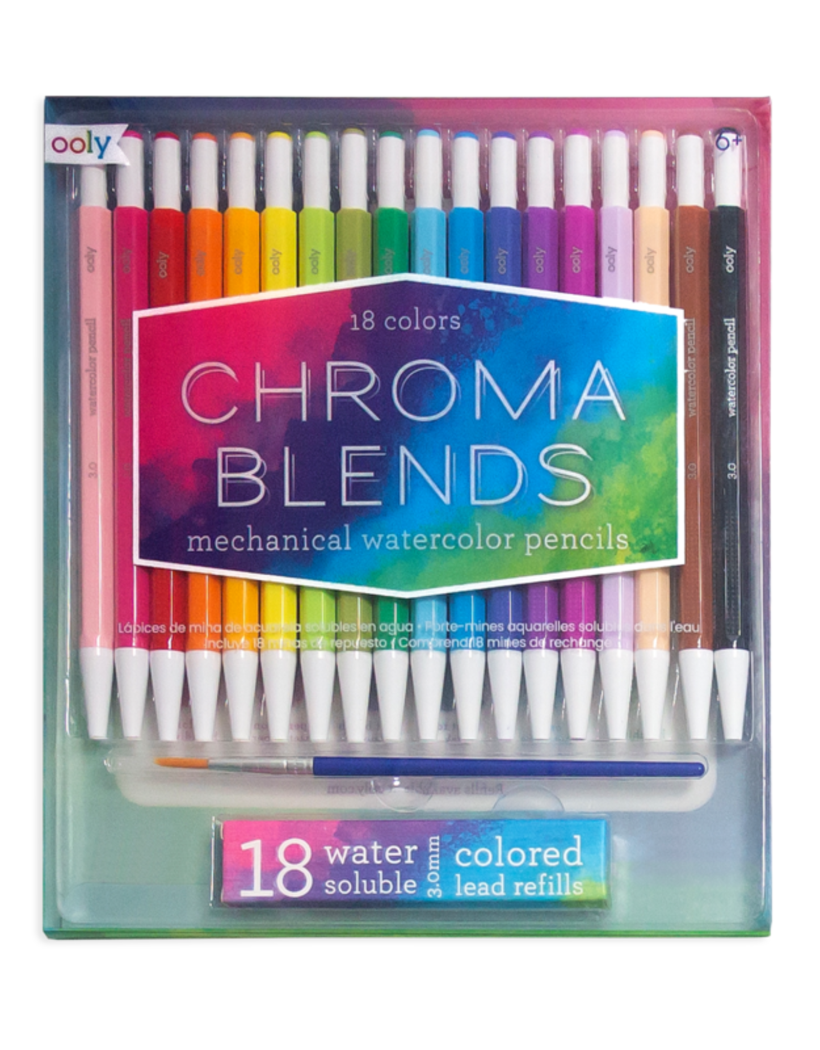OOLY CHROMA BLENDS MECHANICAL WATERCOLOR PENCILS - SET OF 18 + REFILLS