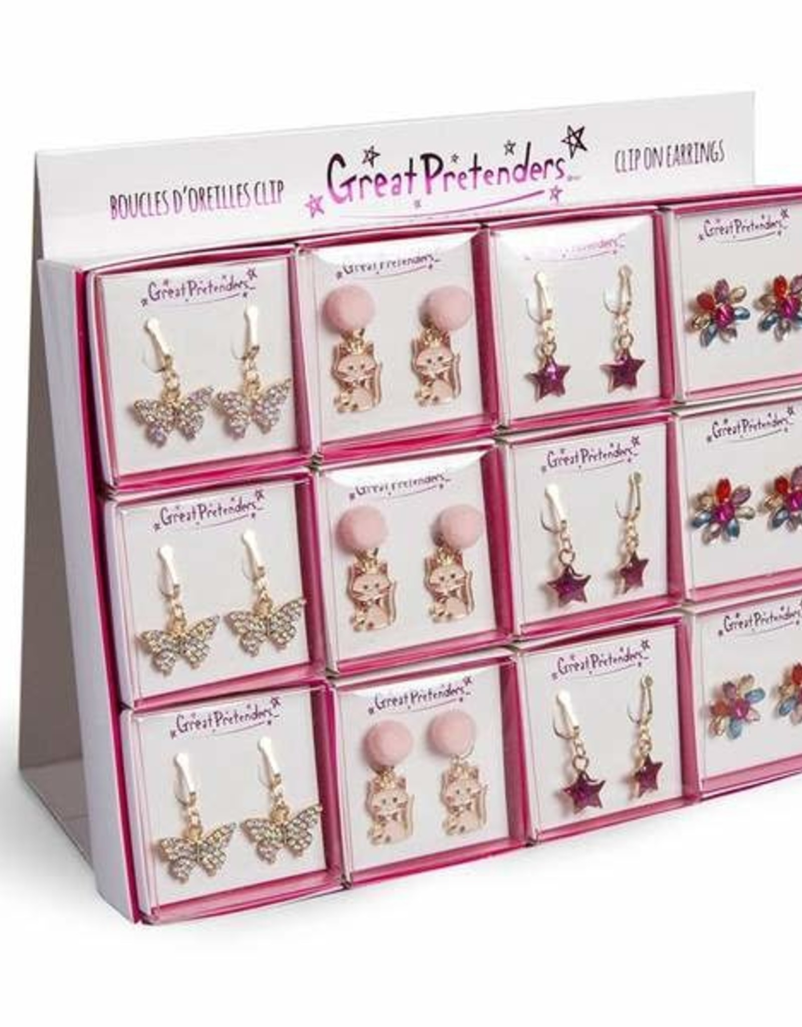 Great Pretenders Clip On Earrings, Assorted, PDQ Display, 24 Pcs