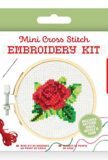 Kikkerland Mini CrossStitch Embroidery Kit Rose