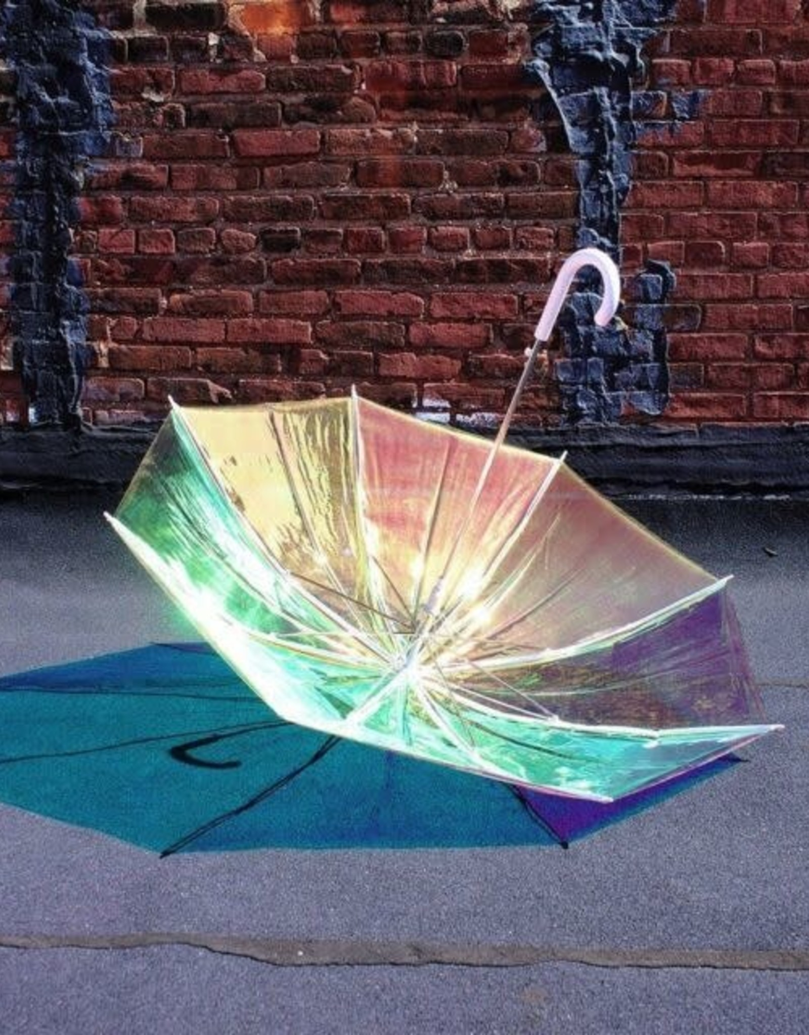 FCTRY Holographic Umbrella, White - Adults