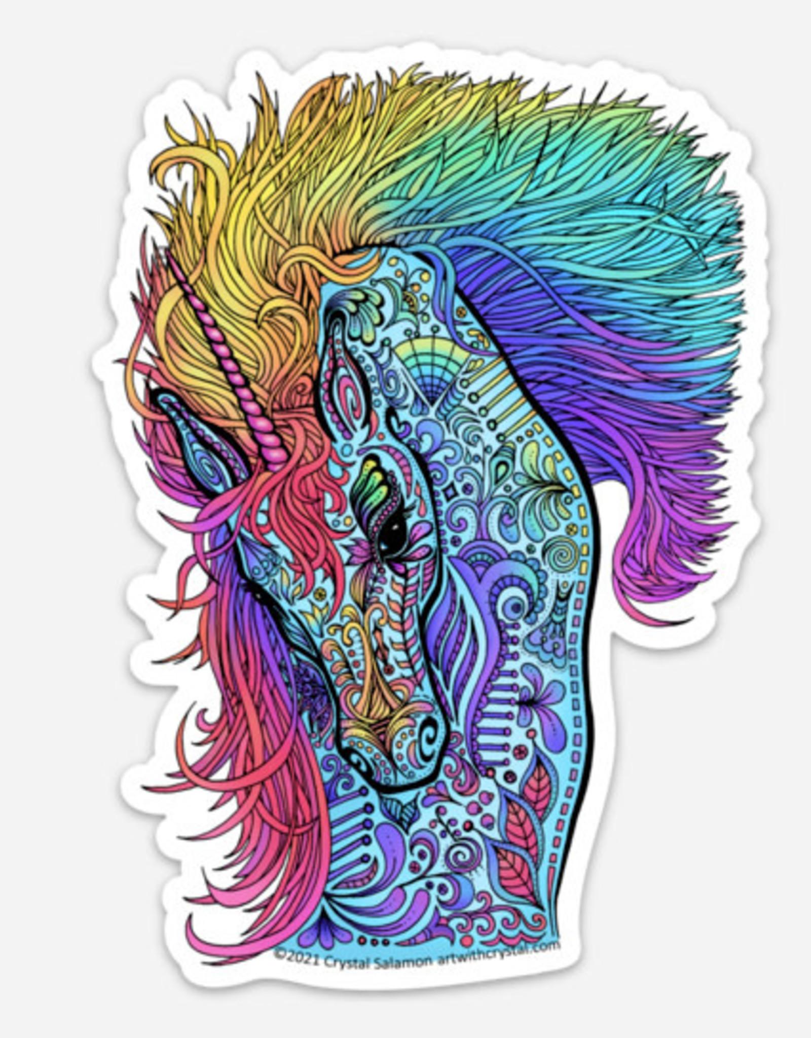 Crystal Salamon Coloured Sticker - Unicorn