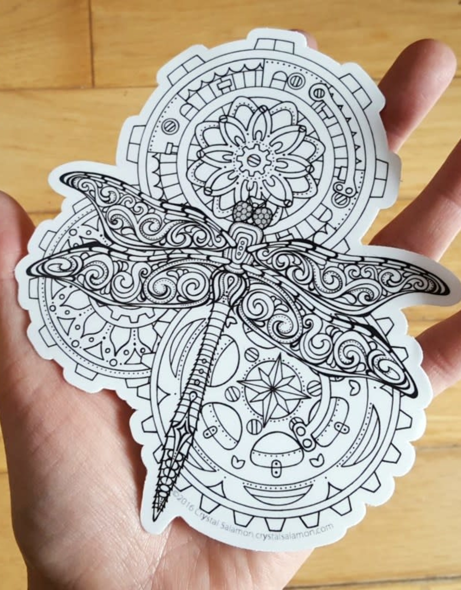 Crystal Salamon Colouring Sticker - Dragonfly